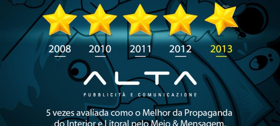 Alta: pela 5ª vez avaliada como o melhor da propaganda pelo Meio & Mensagem